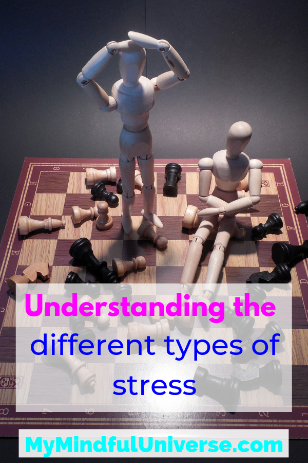 Understanding the different types of stress To be able to ease symptoms of stress or avoid stress, you first need to be able to understand the different types of stress. Read to find out more. #mindfulness #stress #mentalhealth #health #stressmanagement #MyMindfulUniverse